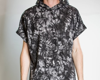 The Grunge Short Sleeve Pullover Hoodie in Organic Cotton French Terry Eyelet Details :Made to Order Sz. Sm Med Lg XL Men's Unisex Tie Dye