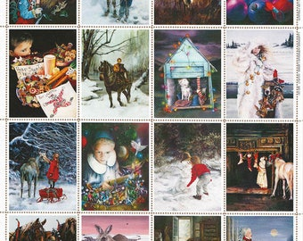 Assorted Christmas Vintage Stamps by Lori Preusch pinhole perforated