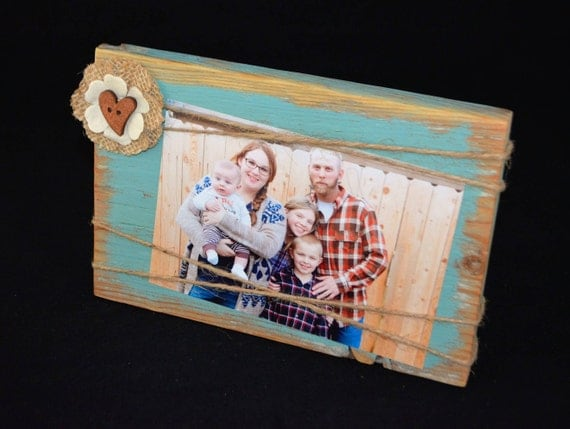 Rustic Wood Frame 8x5 Photo Holder Turquoise Frame With