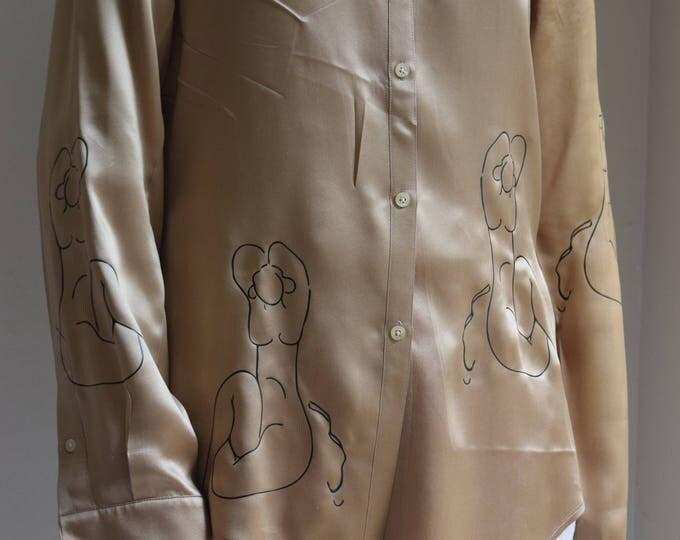 Harriet Muted Metallic Gold Silk Long Sleeve Shirt