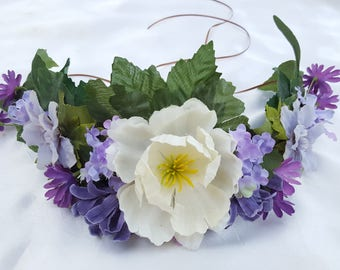 Lilac and White Floral Crown