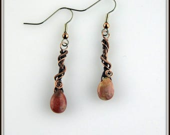 Jasper Drop Earrings, Stone Earrings, Copper Earrings, Wire Wrapped Jewelry, Wire Wrapped Gemstone Earrings, Mikazona Jasper Earrings