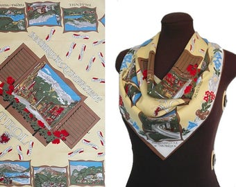 Vintage Square Scarf / Retro Head Scarf / Vintage Souvenir Scarf / Austrian Tyroll / Vintage Gift for Her / Polyester Square Scarf