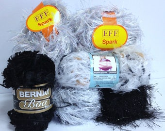 Lion Brand Festive Fur Sparkling Bernat Boa Black Phentex Ultra Soft White Natural Fur Colors Filati Spark Extra Long Lash Colored Confetti