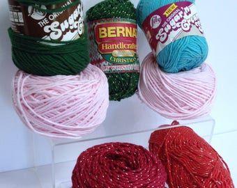 Bernat Handicrafter Yarn, Sparkle Cotton Yarn, Lily Sugar 'n Cream Cotton Yarn for Knitting Handmade Thick Cotton Christmas Yarn Bundle