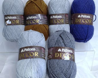 Vintage Patons Grey Yarn Pale Gray Heather Rich Bronze Rich Periwinkle Blue Yarn for Knitting Completing Discontinued Patons Yarn Projects