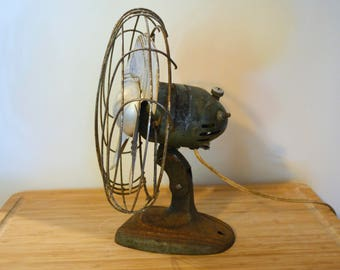 Vintage Mid Century Industrial Fan -- Weathered, Rusted, Antique, Display