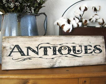 Antiques Sign - 18.5 inches x 5.25 inches - Rustic Wood Hand Painted Antiques Sign - Farmhouse Style