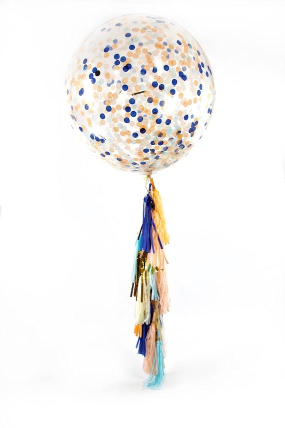 "36"" Sand N' Sea Balloon, Giant Clear Balloon, Confetti Balloon, Tassel Balloon, First Birthday Baby Shower Wedding Ocean Decor Nautical"