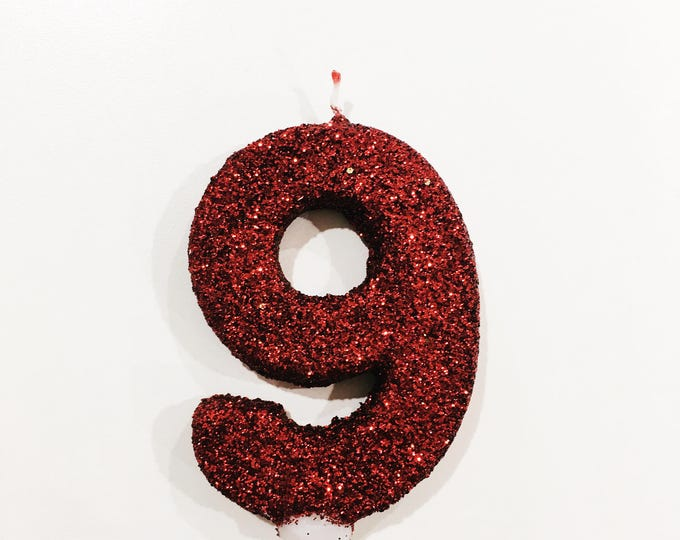 "CLOSEOUT SALE 3"" Number 9 Red Candle, Giant 9 Candle, 9th Party, Ninth Birthday Candle, Glitter Candle, Red Decor, Discount Half Off"