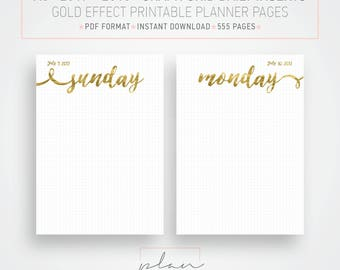 Printable 2017 - 2018 inserts, Graph Planner, Gold planner, A5 2018 planner, Bullet journal, Printable agenda, Day per page, DIY planner