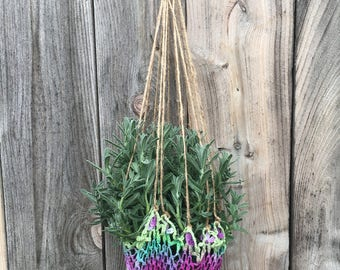 Large Handmade Recycled Hanging Purple and Green Plant Hanger- one tree is planted with every purchase