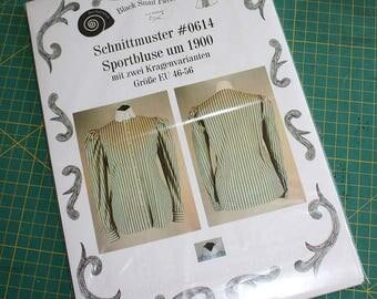 Edwardian Blouse worn about 1900 to do sports Sewing Pattern #0614 Size US 8-30 / EU 34-56)