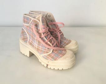 Preppy Chunky ankle boots / Summer Preppy  ankle boots / Amphibian  boots / Biker ankle boots canvas / Grunge black boots / Chunky Boots 6.5