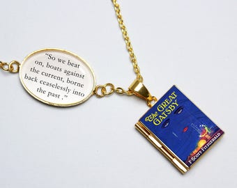 The Great Gatsby Book Quote and Locket Charm. Vintage Book Locket. So We Beat On 1920s Necklace. F Scott Fitzgerald Jewellery. Literary Gift