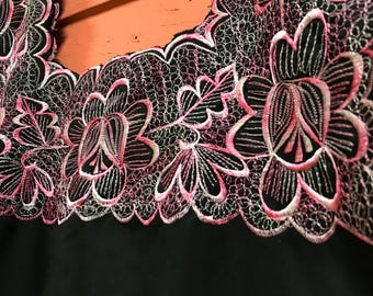 Pink and Black Huipil Handmade Oaxaca