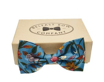 Handmade Floral Bow Tie in Turquoise Peacock Blue - Limited availability!