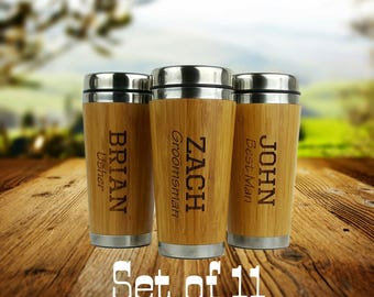 Set of 11- Groomsmen Gift - Personalized - Stainless Steel Bamboo Coffee Tumbler - Best Man, Groomsman, Father of the Bride