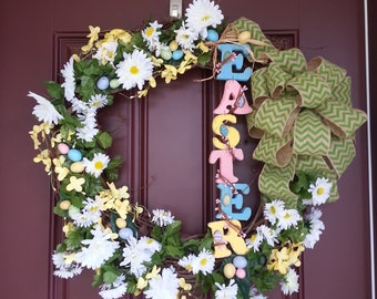 Easter Wreath Green Chevron Flowers and Eggs