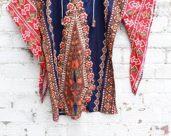 Vintage blue dashiki boho gyspy 70s hippy cotton indian ethnic mini smock dress S