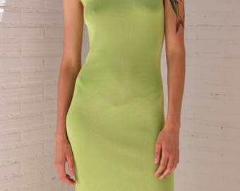 90s GIVENCHY Dress / Lime Color