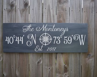 Coordinates Sign, New Home Sign, Housewarming Gift, Free Shipping