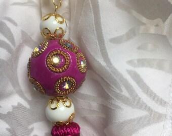 Gold, fuschia, Pearl White yarn, Pearl Necklace Indonesian fuschia