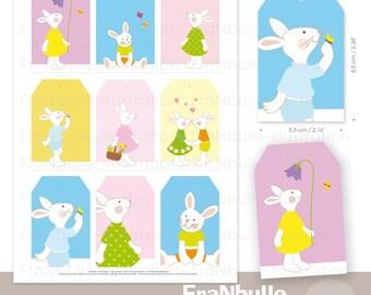 Etiquettes lapin, étiquettes Pâques, étiquettes cadeau enfant, petits lapins, étiquettes à imprimer, printable Pâques, printable label bunny