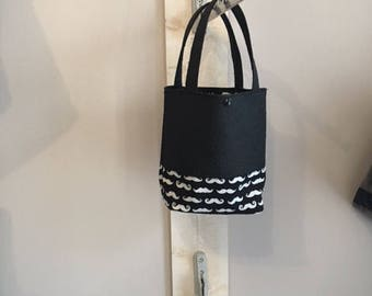 Tote bag for girl black faux leather ostrich