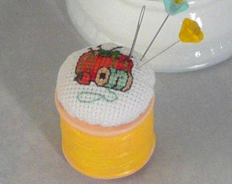 Completed Cross Stitch Mini Pincushion Counted Cross Stitch Finished Upcycled Repurposed Lip Gloss Container
