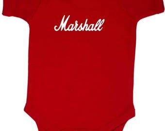 Marshall Amps Baby Onesy 4 Colors Guitar Rock n Roll Heavy Metal Full Shirt Swaddler Bodysuit Amp Amplification