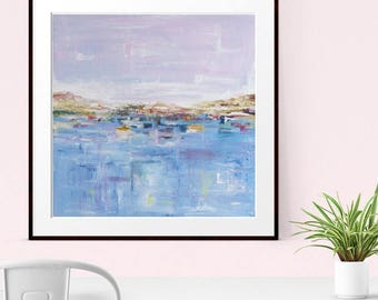 Abstract Painting, GICLEE PRINT,  Modern Art, Abstract Landscape, Contemporary Seascape,  Blue Pink Abstract