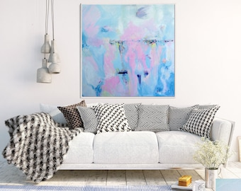 Blue And Pink Abstract Art, Original painting, Abstract Canvas Painting, Modern Art, Contemporary Seascape, Home Decor, Wall Art