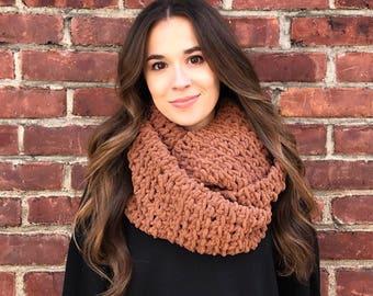 Blanket Scarf, Infinity Scarf, Chestnut Brown Scarf, Brown Infinity Scarf, Crochet Scarf, Chunky Scarf, Chunky Crochet, Circle Scarf, Fall