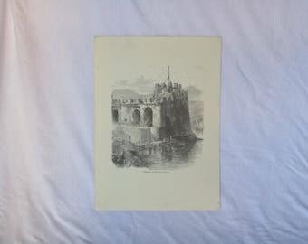 antique Greek rare gravure the Venetian Tower, Chalkis, wall hanging gravure, vintage gravure, old gravure art, vintage wall art, for wall.