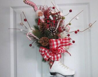 Skate wreath, door hanger, Elf door hanger
