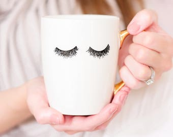 Eyelashes Gold Coffee Mug, Gold, Gift for Boss, Gift for Her, Girl Boss, Coffee Mugs, Boss Lady, Lashes Coffee Mug, Lashes, Coffee Mug Gold