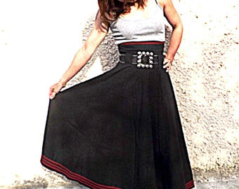 """""""Kaliss"""" flared long skirt with braid"""