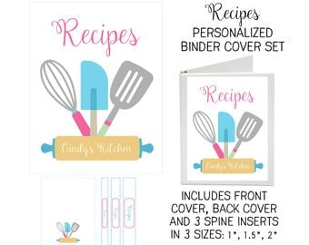 Printable Binder Cover Set - Recipes - Front and Back Covers and Spine inserts - Dress up Your Three Ring Binder!