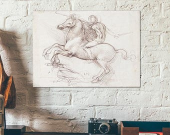 The study for an equestrian monument by Leonardo da Vinci 1485 - sketch - drawing