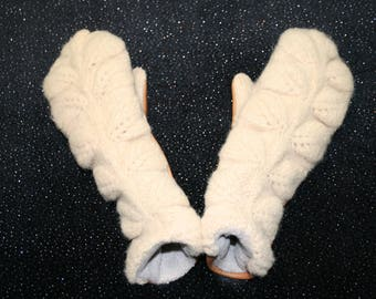 Aimee Mittens - Beige Mittens - White Mittens - Brown Mittens - Leather Mittens - Sweater Mittens - Wool Mittens - Womens Mittens