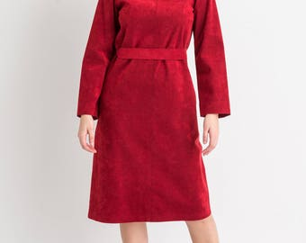70s Red Suede Like A-Line Dress