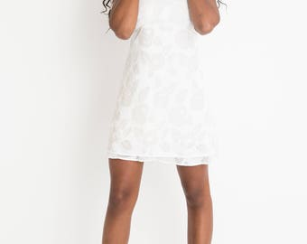 90s White Floral Mini Dress S