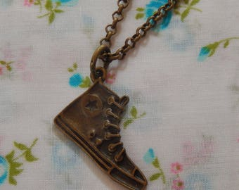 Antique Brass Plated Converse Sneaker Pendant Necklace