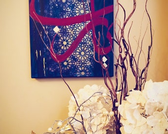 Ya Rabb Acrylic Painting with Geometric Patterns