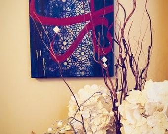 Ya Rabb Acrylic Painting with Geometric Patterns