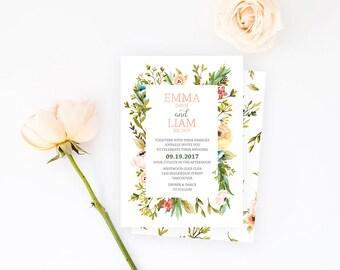 Rustic Wedding Invitation, Floral Wedding Invitation, Garden Wedding Invitation, Floral Wreath Wedding Invitation, Woodland Wedding Invite