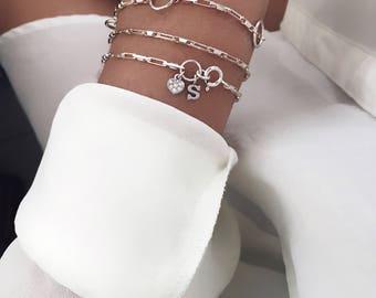Initial Silver Bracelet / Delicate Silver Bracelet / Silver Name Bracelet / Chain Bracelet / Dainty Bracelet / Letters Bracelet / Bridesmaid