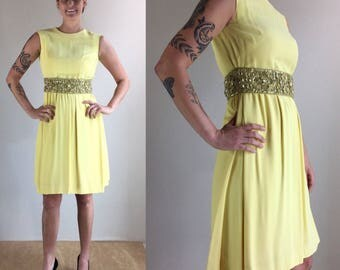 1960's Harvey Berin Lemon Yellow Rayon Sheath Dress with Rhinestone Detailed Waist | Size Small