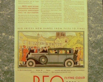 1930 Reo Car Ad Matted Vintage Print